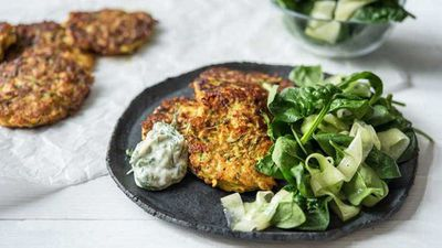 """Recipe:&nbsp;<a href=""""http://kitchen.nine.com.au/2017/03/08/11/17/cheesy-fritters-with-dill-and-parsley-mayo"""" target=""""_top"""">Cheesy fritters with dill and parsley mayo</a>"""