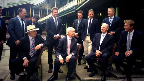 Richie Benaud pictured with the Nine cricket team at the season launch today. (9NEWS)