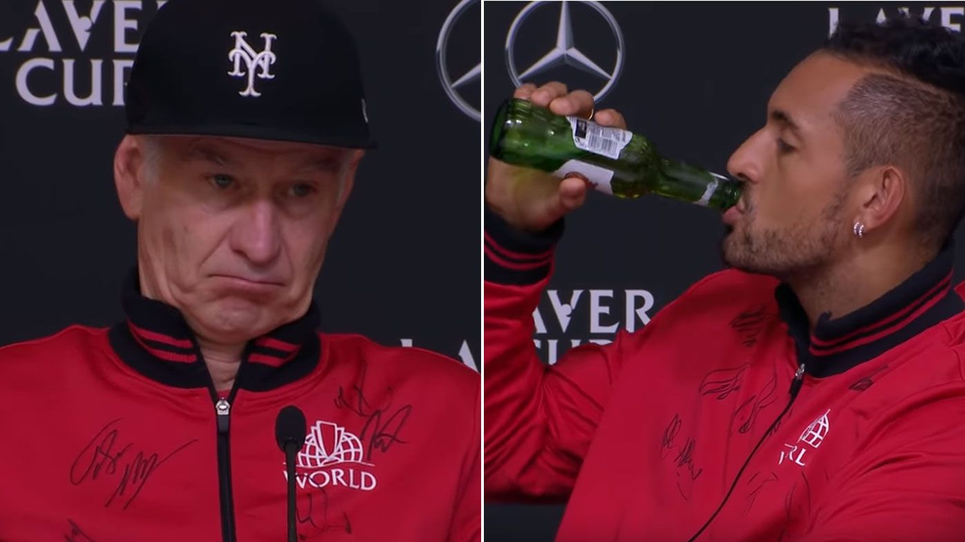 John McEnroe and Nick Kyrgios get loose during Laver Cup press conference