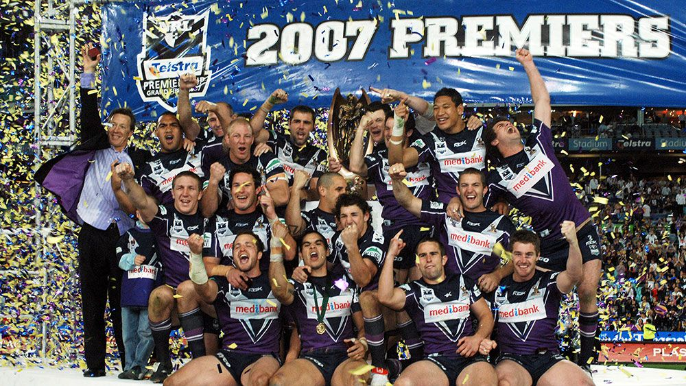 Melbourne Storm players celebrate their 2007 Grand Final victory. (AAP)