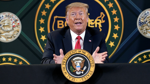 President Donald Trump participates in a border security briefing at United States Border Patrol Yuma Station, Tuesday, June 23, 2020, in Yuma, Ariz. (AP Photo/Evan Vucci)