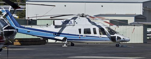 Photo of a Sikorsky S-76B helicopter at Van Nuys Airport in  California. NBA legend Kobe Bryant, his 13-year-old daughter and others died after their helicopter, the same type shown in this photo, crashed in Southern California.