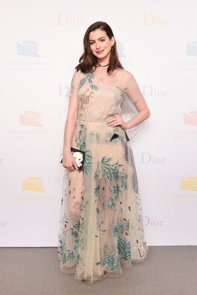 Anne Hathaway at Guggenheim International Gala supported by Dior on November 17, 2016.