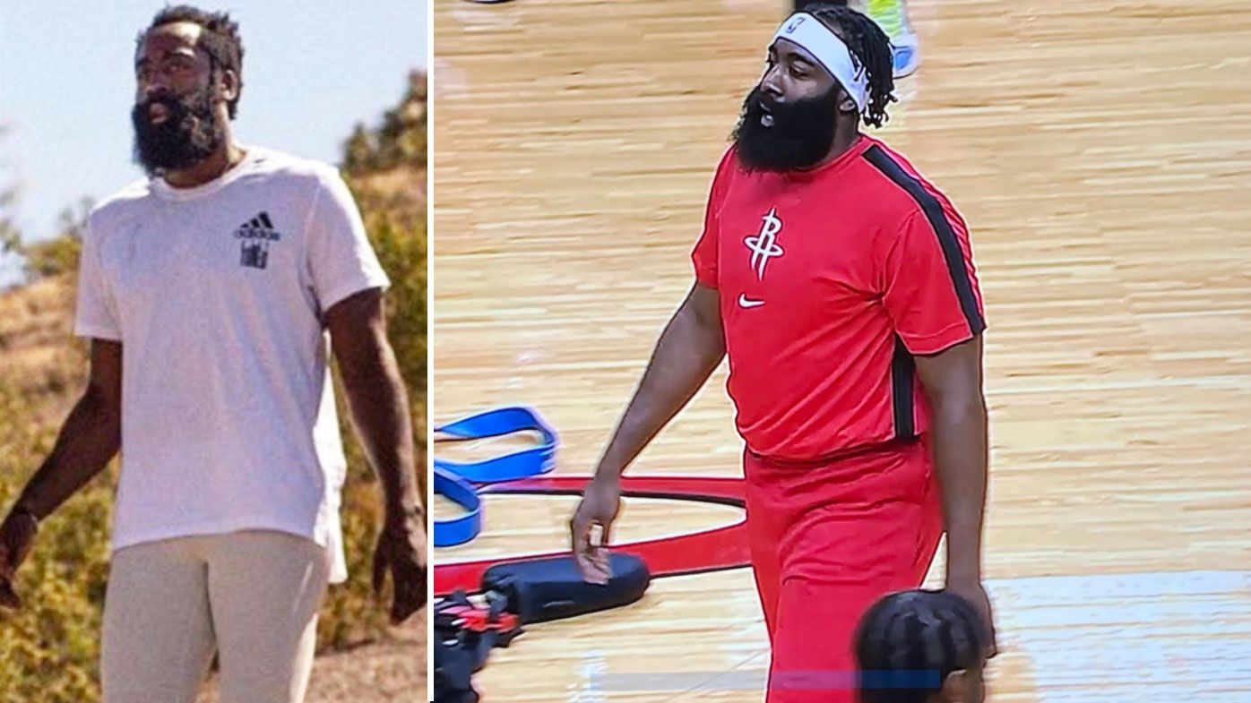James Harden shows up for first pre-season Rockets match looking out of shape