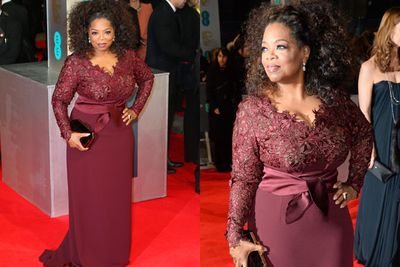 "Oprah Winfrey has been ""stitched"" into her Stella McCartney gown... and still looks amazing!"
