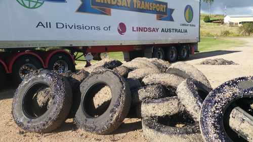 The tyres after they were removed from the truck.  (Picture: Deborah Stacey)