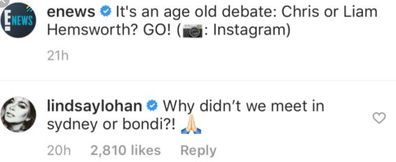 Lindsay Lohan, Liam Hemsworth, comment, Instagram