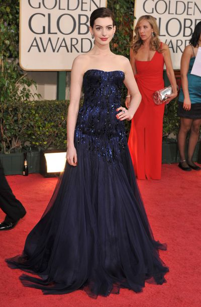 Anne Hathaway in Armani Prive at the Golden Globes in 2009.