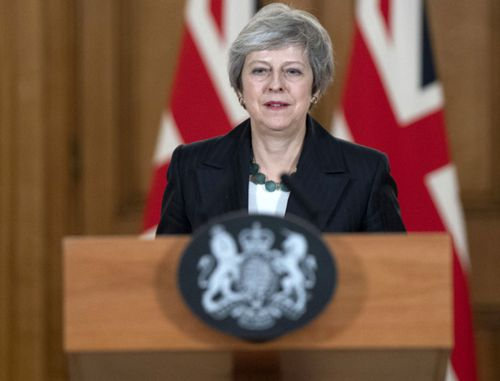 British Prime Minister Theresa May defends her Brexit deal in a media conference at Downing Street.