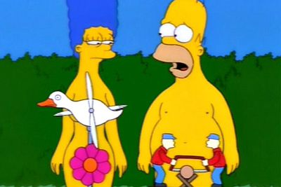 <b>Why are they naked? </b>Homer and Marge attempt to rekindle their love-life by doing the dirty deed in public places.