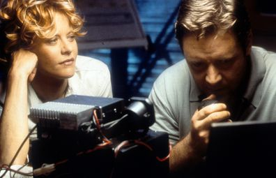 Meg Ryan watches Russell Crowe in a scene from the film 'Proof Of Life', 2000.