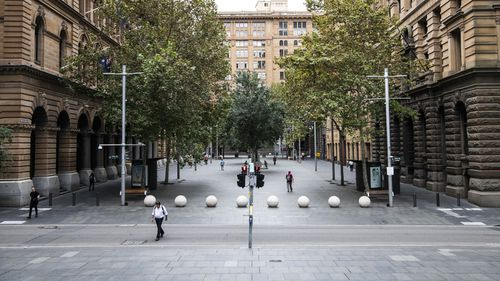 Martin Place and Quiet streets in the CBD.  To prevent contracting coronavirus people who are not essential services are working from home. Sydney. Coronavirus, Covid-19 Pandemic.