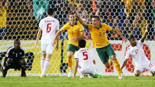 Jason Davidson of Australia celebrates after scoring a goal during the Asian Cup Semi Final. (Getty)