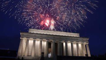 Fireworks go off over the Lincoln Memorial in Washington on July 4 last year.