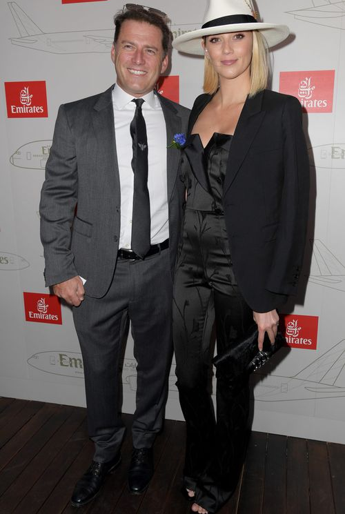 Karl Stefanovic and Jasmine Yarbrough at the Emirates Marquee. (AAP)