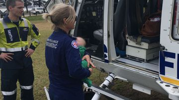 A ten-week-old baby boy airlifted to Westmead Hospital today.