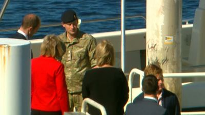 Prince Harry arrived at the Opera House by boat. (9NEWS)