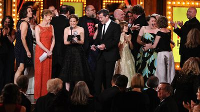 Kristin Caskey accepts the award for best musical for 'Fun Home', on behalf of the beaming cast and crew who joined her on stage. (AAP)