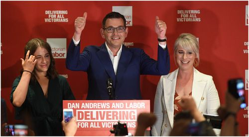 Victorian Premier Daniel Andrews was all smiles on Saturday night.