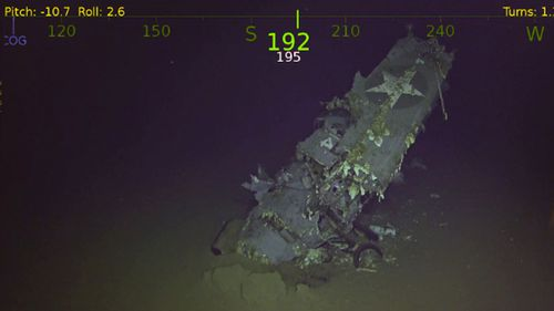 The wing of a World War II US military plane found near the wreck of the aircraft carrier. (R/V Petrel).