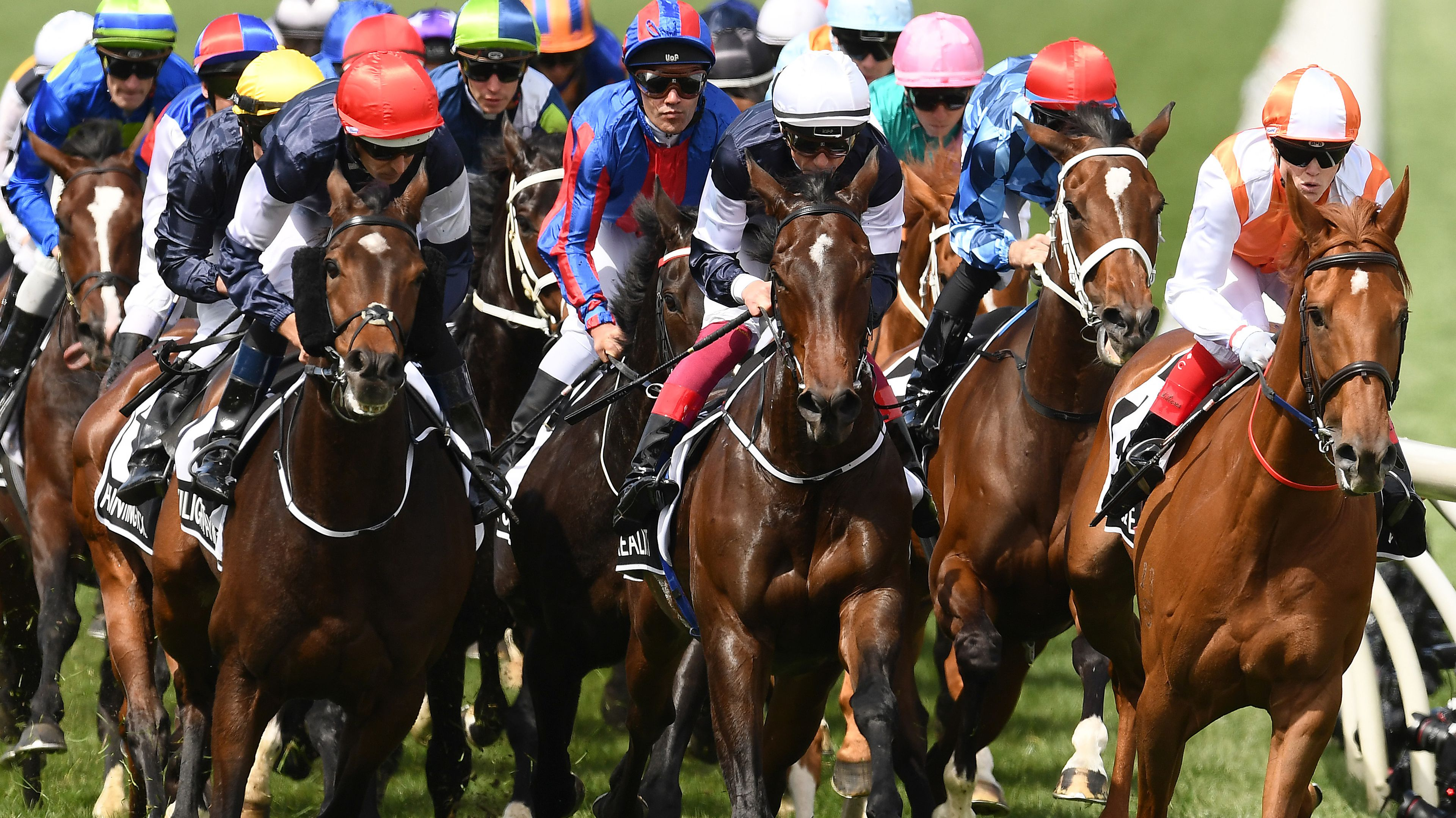 Craig Williams leads the Melbourne Cup field home on Vow and Declare.