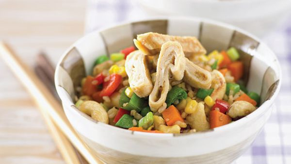 Rice vegie and cashew stirfry
