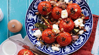 "Recipe: <a href=""http://kitchen.nine.com.au/2016/05/16/18/19/roast-tomatoes-with-raisins-and-feta"" target=""_top"">Roast tomatoes with raisins and feta</a>"
