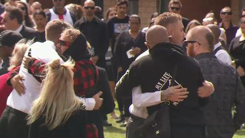 Hundreds gathered to celebrate the life of Trisjack Simpson, who drowned in the Swan River last month.