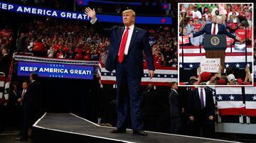 190619 Donald Trump 2002 US election campaign launch Orlando Florida new SPLIT