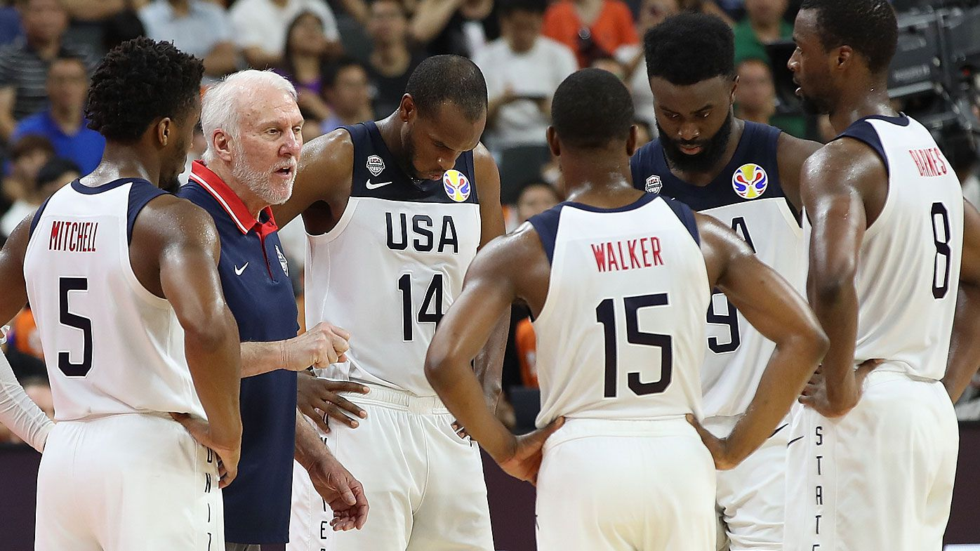 Head Coach Gregg Popovich of USA talk with his player during FIBA World Cup