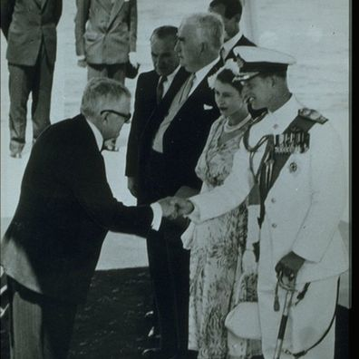 Doctor Herbert Evatt, Rosalind Carrodus' father, meeting Prince Philip and the Queen, 1954.
