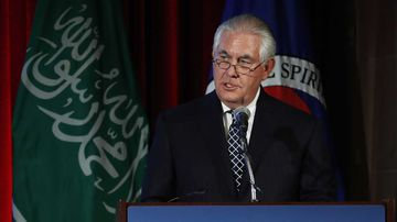 Rex Tillerson addresses a crowd in Washington DC. (AAP)