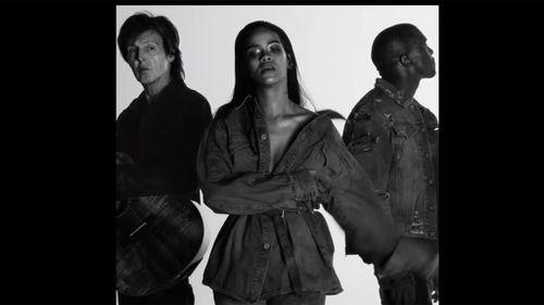 Paul McCartney, Rihanna and Kanye West in original music video. (YouTube)