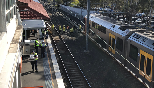 A man has died while reportedly spray painting in rail corridor.