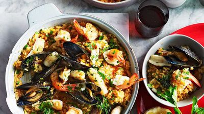 "Recipe: <a href=""http://kitchen.nine.com.au/2016/05/05/15/39/seafood-risotto"" target=""_top"">Seafood risotto</a>"