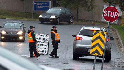 Military bases, including this one in Halifax, have heightened security after the shooting spree. (AAP)