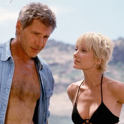 <p>Harrison Ford and Anne Heche in <em>Six Days Seven Nights</em> </p><p><strong>Age gap:</strong> 26 years, 10 months</p>