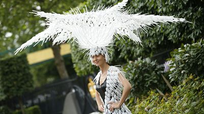 <p>A large and eclectic headpiece spotted on day two. (AAP) </p>