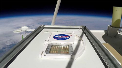 The MARSBOx took flight in September 2019. Its door rotated open, exposing samples of four different types of microorganisms to the extreme environmental conditions of the Earth's stratosphere.