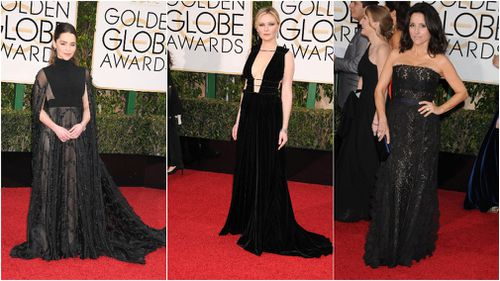 Trend with purpose: There's been an unprecedented demand for black dresses at this year's Globes. (AAP 2016)