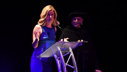 Deborah Hutton and Maggie Tabberer recalled Miller tales with the large audience. Image: AAP