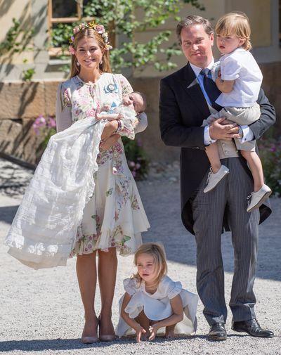 Princess Madeleine of Sweden, with Princess Adrienne of Sweden, Princess Eleonore of Sweden and husband Christopher O'Neill holding Prince Nicolas of Sweden at the christening of Princess Adrienne of Sweden in Stockholm, Sweden, June, 2018