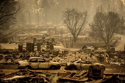 Homes leveled in Paradise, California.