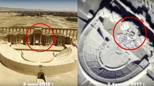 Russian Defense Ministry photo of Roman-era amphitheater on June 6 2016 (left) and on February 5 2017 (right). (AP)