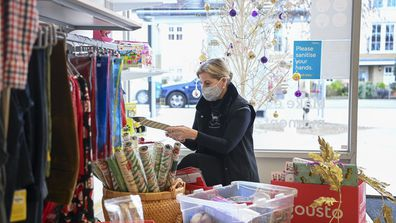 Sophie, Countess of Wessex, the Royal Patron of Shooting Star Children's Hospices, gave a helping hand to staff preparing for Christmas at the charity's Hampton Hill shop yesterday