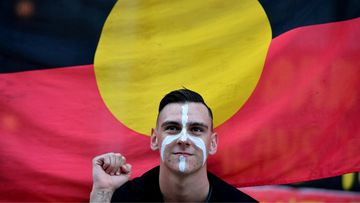 Dylan Voller joins protesters gathering for a march organised by Grandmothers Against Removals (GMAR) to mark Aboriginal and Torres Strait Islander Children's Day in August 2017. (AAP)