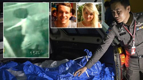 Police in Thailand have released a CCTV image (top left) of the main suspect in the double-murder of David Miller and Hannah Witheridge in Koh Tao. (AAP/Supplied)