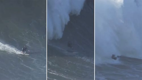 British surfer Andrew Cotton narrowly escaped death after becoming caught in a monster wave. (Kleber Pires)