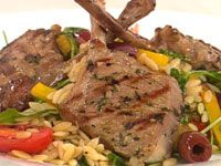 Thyme & garlic lamb with tomato & olive risoni salad