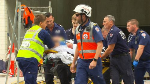 The man in his mid 30s was taken to Royal North Shore Hospital in a serious but stable condition.